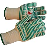 Grill Heat Aid - Extreme 932°F Heat Resistant - Light-Weight, Flexible BBQ Gloves - 100% Cotton Lining For Super Comfort - Mint Green Stripes for Ultimate Grip - Versatile than Oven Mitts & Pot holders