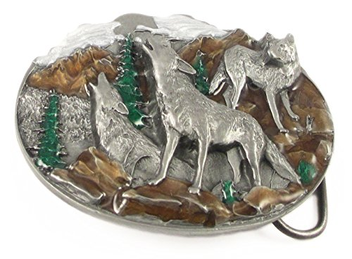Pewter Belt Buckle - Howling Wolves - Pewter Belt Buckle (Hand Belt Buckle)