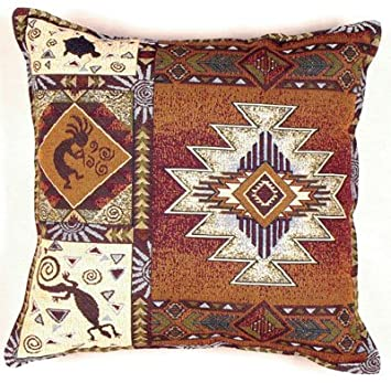 Simply Home Kokopelli Southwestern Decorative Tapestry Toss Pillow USA Made Sku PTP833