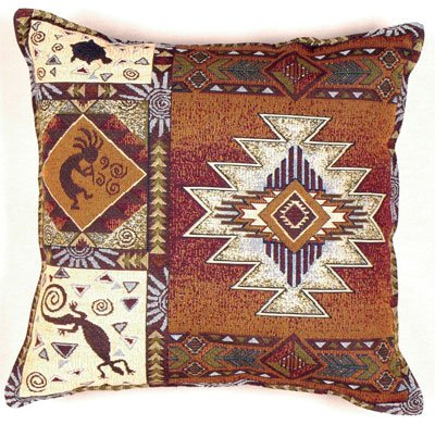 (Kokopelli Southwestern Decorative Tapestry Toss Pillow )