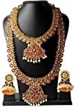 Goldencollections Multicolor Gold-Plated Combo Of 4 ,Bharatanatyam & Kuchipudi Choker Necklace Earrings Set For Women/Girls
