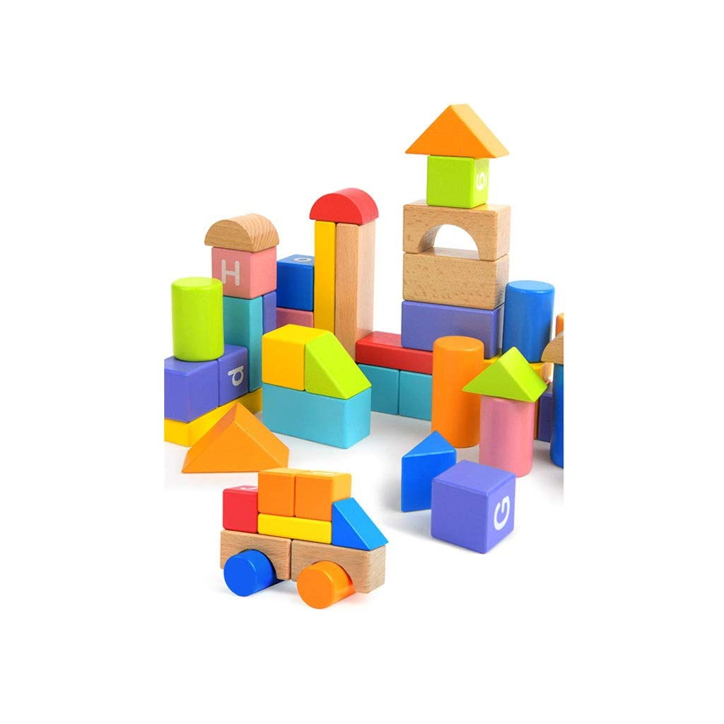 Lxrzls Large Wooden Building Blocks-Preschool Education for Toddler Children-Stacking Toys-Wooden Shape to Build Blocks Children's Educational Toys