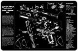 gun accessories for 9mm - TekMat Smith & Wesson M&P Cleaning Mat / 11 x 17 Thick, Durable, Waterproof / Handgun Cleaning Mat with Parts Diagram and Instructions / Armorers Bench Mat / Black