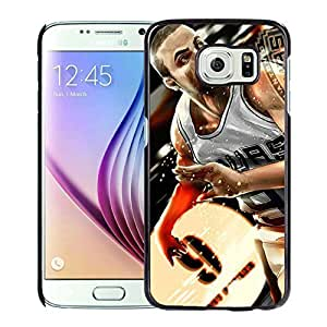 New Custom Design Cover Case For Samsung Galaxy S6 San Antonio Tony parker 2 Black Phone Case