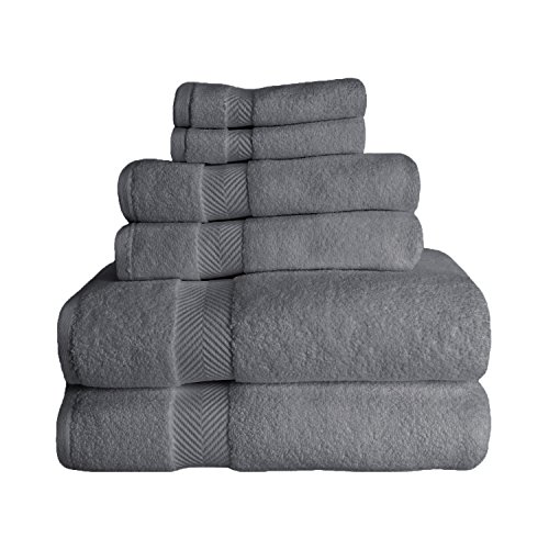 Superior Zero Twist 100% Cotton Bathroom, Super Soft, Fluffy, and Absorbent, Premium Quality 6 Piece Set with 2 Washcloths, 2 Hand, 2 Bath Towels, Grey from Superior