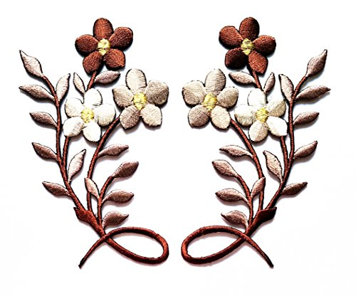 Nipitshop Patches Brown Flowers beautiful Patch Brown Orchid flowers floral bouquet boho embroidered appliques iron-on patches for Clothes Backpacks T-shirt Jeans Skirt vests scarf Hat - Orchid Embroidery