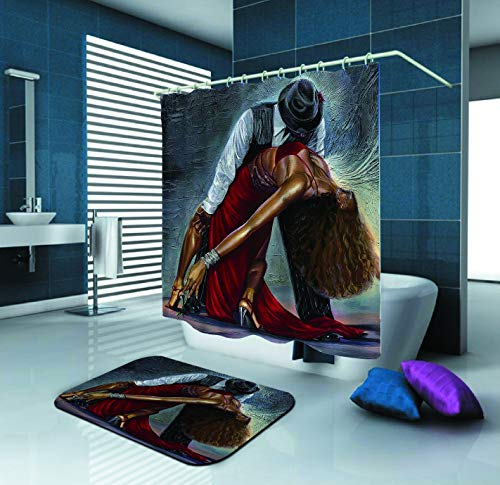 (SARA NELL Black Art Shower Curtain,African American Couple Dancing Together,72X72In Polyester Fabric Shower Curtain Set with 15.7X23.6In Flannel Non-Slip Floor Doormat Bath Rugs)