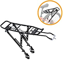 Voilamart Bicycle Rear Touring Carrier Rack, Adjustable Aluminum Alloy Frame-Mounted with 132 lb Max Capacity for Heavy Bike Luggage Cargo
