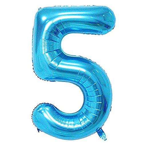 Tellpet Blue Number 5 Balloon, 40 Inch
