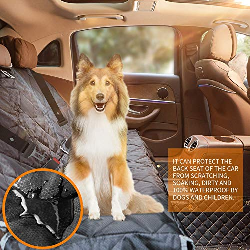 BRONZEMAN 100 Waterproof Bench Car Seat Cover Protector – Strong Durable,Heavy-Duty and Nonslip Rear Back Seat Cover with Middle Seat Belt,Universal Size Fits for Cars, Trucks SUVs