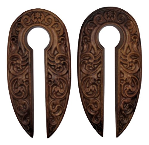 Wood Carved Design Dangle Ear Plugs - Ear Tapers - Pair - 0 Gauge (8MM)