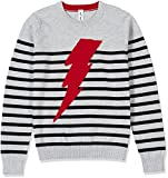 Kid Nation Kids'' Long Sleeve Striped Pullover Sweater For Boys or Girls XS(4) Grey