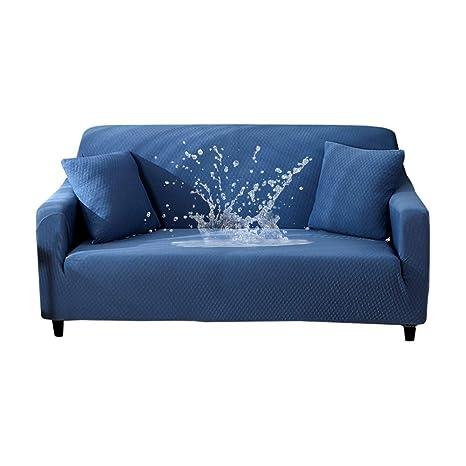 HOTNIU Funda Sofa 3 Plazas Ajustables, Funda Elástica de Sofá, Funda Impermeable para Sofá, Antideslizante Protector Cubre Sofa (Tres Plazas, Blue)
