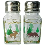Westland Giftware A Touch of Glass Moose and Bear Salt and Pepper Shaker Set, 4-Inch