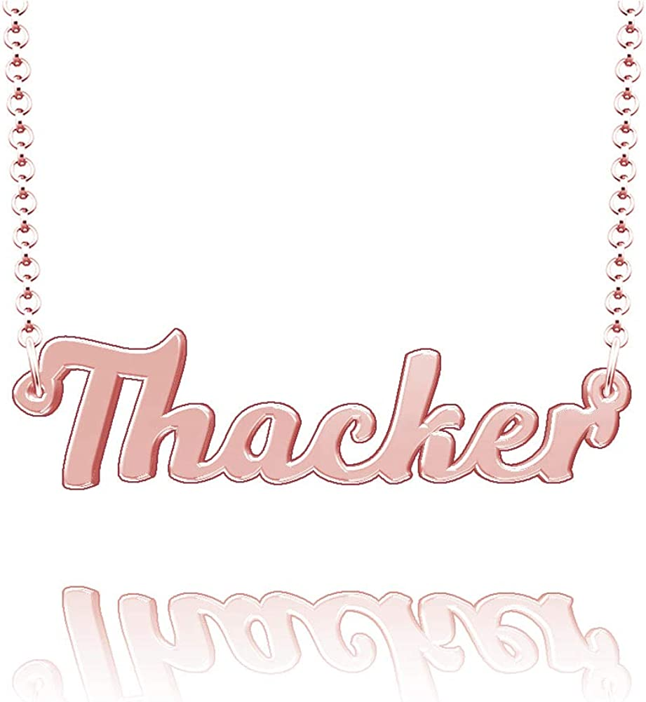 LoEnMe Jewelry Customized Thacker Name Necklace Stainless Steel Plated Custom Made of Last Name Gift for Family