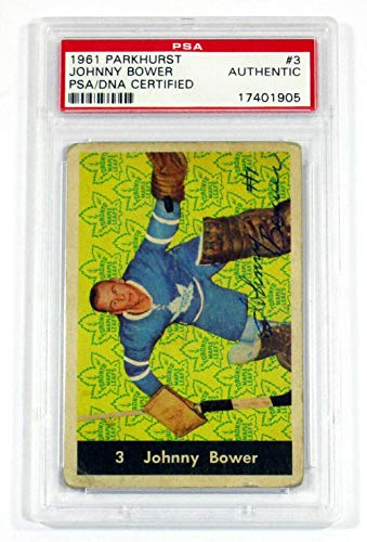 1961-62 Parkhurst Johnny Bower #3 Signed Card Maple Leafs Auto - PSA/DNA Certified - Hockey Cards