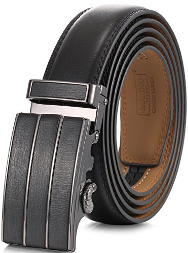 Marino Men's Genuine Leather Ratchet Dress Belt with Automatic Buckle, Enclosed in an Elegant Gift Box - Black - Style 145 - Custom: Up to 44