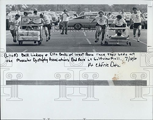 1981 Press Photo Muscular Dystrophy Association Benefit Bed Race Gulf View - Gulf View Mall