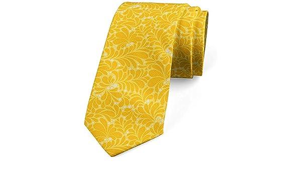 Corbata para hombre, arte floral con flores, mostaza amarilla ...