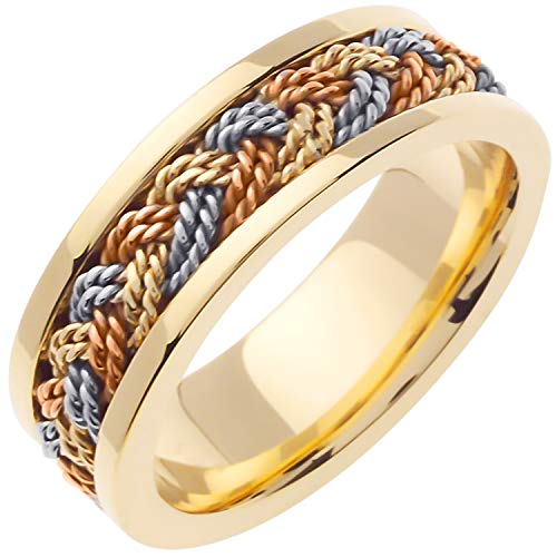 18K Tri Color Gold Braided Hair Braid Men's Comfort Fit Wedding Band (7mm) Size-16.5c1 ()
