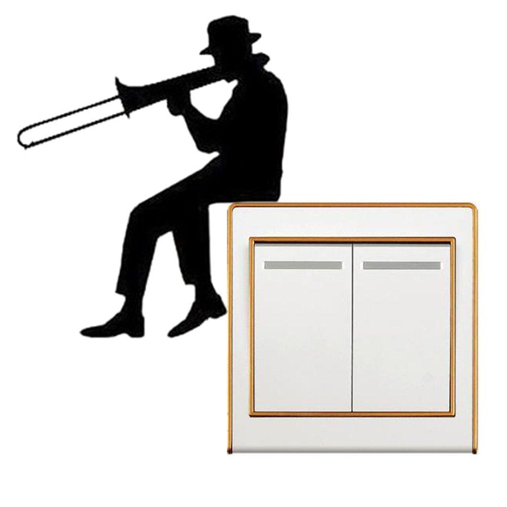 ALTcompluser Licht Schalter//Steckdose Aufkleber Wandtattoo//Wandaufkleber//Wandsticker Dekoration Wall Stickers Moderner Stil Man spielt Posaune