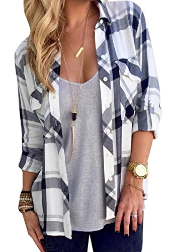 ANDYOU Women's Plaid Buttoned Wild Long Sleeve Top Shirt White S
