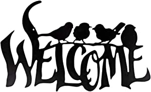 Welcome Metal Sign Bird décor with Removable Chain Hanger - Welcome Metal Wall Art Plaque Suitable Indoor/Outdoor - Front Door Garden Porch Yard Décor Home Farmhouse Cabin Decor