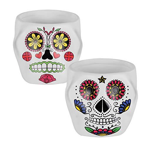 "Napco Red Green Blue Sugar Skull 2.25"" H x 2.5"" W x 2.5"" L Ceramic Decorative Planter, Set of 2"
