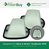 2 - Black and Decker VF20 Washable HEPA DustBuster Filters, Part #VF20, 499739-00. Designed by FilterBuy to fit Black & Decker Double Action V series DustBusters Hand Vac