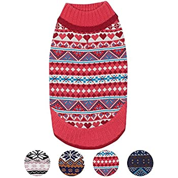 """Blueberry Pet 4 Patterns Holiday Charm Fair Isle Style Sugar Coral Pullover Dog Sweater, Back Length 20"""", Pack of 1 Clothes for Dogs"""