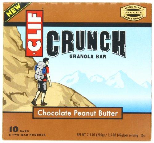 CLIF CRUNCH - Granola Bar - Chocolate mantequilla de maní, 1,48 oz, 5 barra de dos bolsas