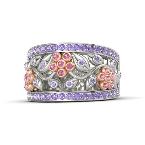 14K White Gold Ring with Pink Tourmaline & Iolite â€