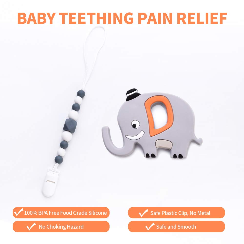 AmazingM Elephant Baby Teether with Pacifier Clip Holder,Bandana Bib,Bpa Free Food Grade Silicone Teething Pain Relief Toy for Newborn Babies, for Boy and Girl (Grey)
