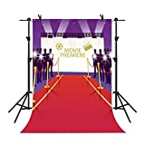 MME 5x7Ft Hollywood Movie Conference Purple Background Flash Red Carpet Photography Seamless Vinyl Video Studio Photograph Backdrop LXME577