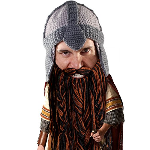 Lord Of The Ring Costumes (Beard Head Dwarf Warrior Beard Beanie - Epic Knit Dwarf Helmet and Fake)