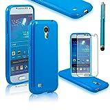 Fulland Premium Slim Fit Flexible TPU Gel Soft Skin Case Cover For Samsung Galaxy S4 Mini I9190 Plus Stylus Pen & Screen Protector-Blue