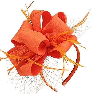 Myjoyday Wedding Fascinators Hat for Women Kentucky Derby Headband Tea Part Feathers Cocktail Hair Clip