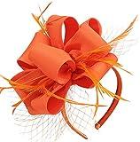 Fascinators for Women Tea Party Satin Feather Mesh Wedding Headband Kentucky Derby Headpieces(Thanksgiving)(Orange)
