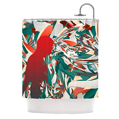 Kess InHouse Danny Ivan ''Soccer Headshot'' Teal Red Shower Curtain, 69 by 70-Inch by Kess InHouse