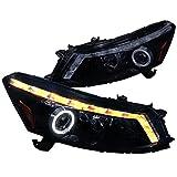 2008 accord sedan headlights - Spec-D Tuning 2LHP-ACD084G-TM Black Projector Headlight (Smoked Lens Gloss Housing Sedan Model)
