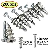 Ansoon Zinc Self Drilling Drywall Hollow-Wall Anchors with Screws Kit, 200 Pieces All Together