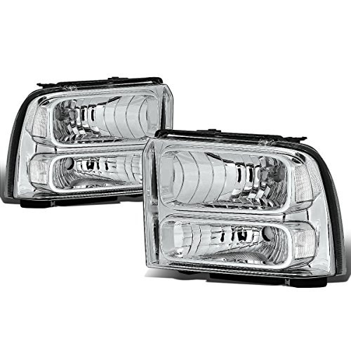 For Ford Super Duty 1st Gen F250-550 Pair Chrome Housing OE Style Headlight ()