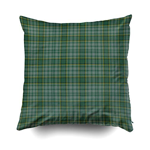 EMMTEEY Home Decor Throw Pillowcase for Sofa Cushion Cover, Halloween Green Clan Currie Tartan Plaid Decorative Square Accent Zippered and Double Sided Printing Pillow Case Covers -