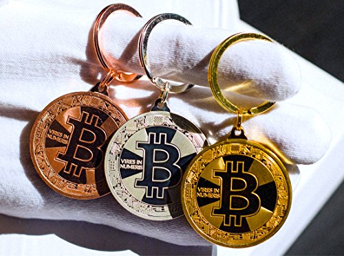 Bitcoin Keychain Collectors Set (3 Pack) .999 Fine Gold Bitcoin Commemorative Collectors Coins - Heavy Plated 1oz Gold - Crafted Polished Mirror Finish - Includes Gold, Silver, and Bronze