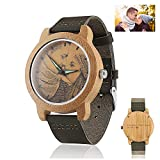 Men's Personalized Wooden Photo Watch and Text Engraved on The Watch Back Light Green Leather Strap Customized Couple Watches (40MM, Light Green 1)