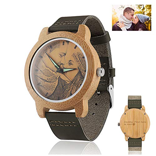 Men's Personalized Wooden Photo Watch and Text Engraved on The Watch Back Light Green Leather Strap Customized Couple Watches (40MM, Light Green 1) by Godchoices