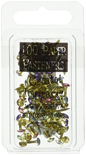Mini Painted Metal Paper Fasteners 100/Package, Assorted Pearl Round ()