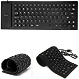 Storite Foldable Silicone Keyboard USB Wired Standard Keyboard Waterproof Rollup Keyboard for Full Size iOS Windows Android Tablets, Smartphones, Laptops, PC, Notebook and More (Black)