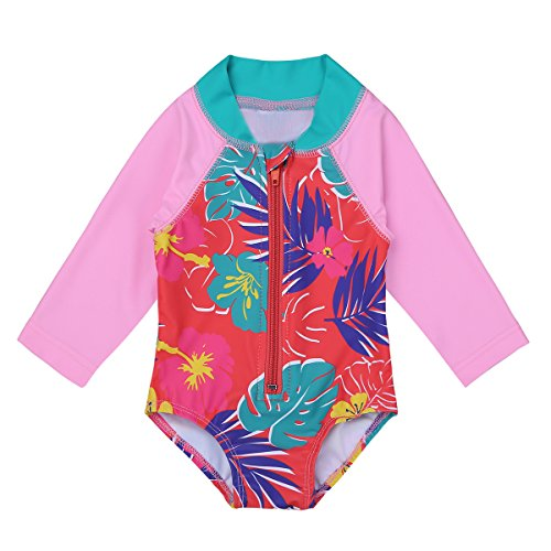 (iiniim Baby/Toddler Girls Long Sleeve Rash Guard Swimsuit Shirt Tops UPF 50+ Floral Sun Protection Swimwear Zipper Bodysuit Pink Red 12-18 Months)