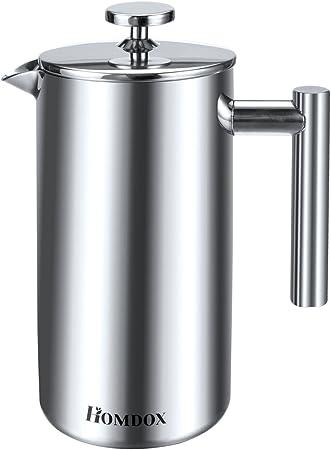 Homdox 0AI001520 - Cafetera de émbolo, Acero Inoxidable, 2 filtros ...